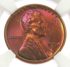 1954 S LINCOLN WHEAT CENT NGC MINT STATE 67 RED   CRANBERRY RED