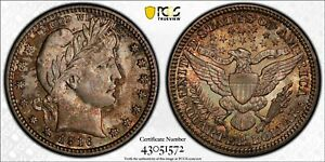 PCGS MS65 COLORFULLY TONED 1916 D BARBER QUARTER TRUE VIEW