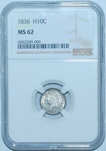 1836 NGC MS62 FS 301 LM 3 3/INVERTED 3 LARGE 5C CAPPED BUST HALF DIME