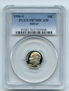 Click now to see the BUY IT NOW Price! 1996 S 10C SILVER ROOSEVELT DIME PROOF PCGS PR70DCAM