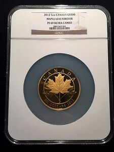 Click now to see the BUY IT NOW Price! 2012 CANADA $500 MAPLE LEAF FOREVER COIN 5 OZ NGC PF69 .9999 GOLD   200 MINTED