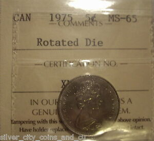 Click now to see the BUY IT NOW Price! CANADA ELIZABETH II 1975 ROTATED DIE FIVE CENTS   ICCS MS 65  XNK 436
