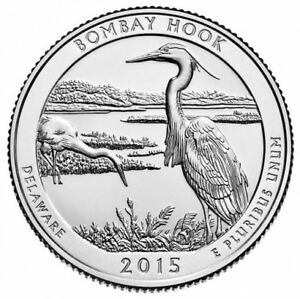 2015 AMERICA THE BEAUTIFUL BOMBAY HOOK NATIONAL PARK 5 OZ SILVER COIN