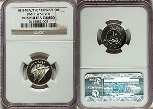 Click now to see the BUY IT NOW Price!  1987 KUWAIT SILVER PROOF 10 FILS NGC PF 69 UC
