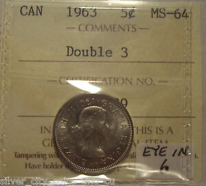 Click now to see the BUY IT NOW Price! CANADA ELIZABETH II 1963 DOUBLED 3; EYE IN 6 FIVE CENTS   ICCS MS 64  XEN 639