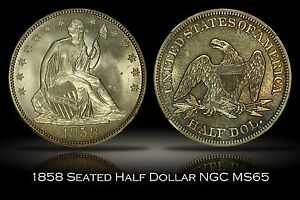 Click now to see the BUY IT NOW Price! 1858 SEATED LIBERTY HALF DOLLAR NGC MS65 WONDERFUL GEM 50C W/ TONED REVERSE