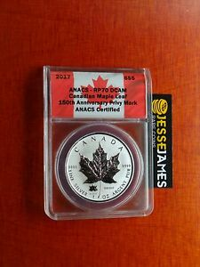 Click now to see the BUY IT NOW Price! 2017 $5 REVERSE PROOF SILVER MAPLE LEAF ANACS RP70 150TH ANNIVERSARY PRIVY MARK