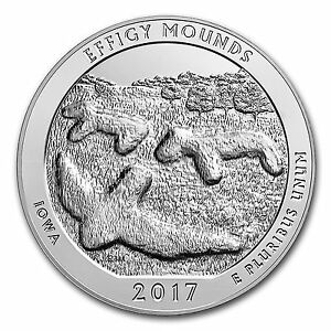 2017 EFFIGY MOUNDS IOWA 5 OZ .999 SILVER AMERICA THE BEAUTIFUL QUARTER IOWA
