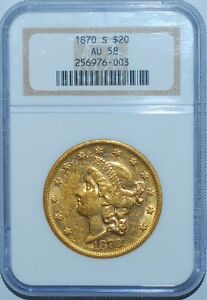Click now to see the BUY IT NOW Price! 1870 S NGC AU58 $20 LIBERTY HEAD TWENTY DOLLAR GOLD DOUBLE EAGLE
