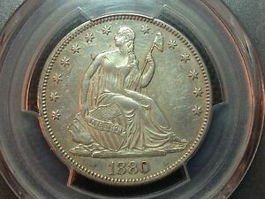 1880 PCGS AU DETAIL  SEATED LIBERTY HALF DOLLAR   BUSINESS STRIKE ONLY 8400
