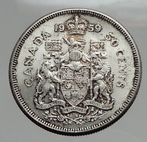 Click now to see the BUY IT NOW Price! 1959 CANADA   SILVER 50 CENTS OLD COIN UK QUEEN ELIZABETH II UNICORN LION I62883