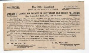 1917 P.O. DEPT FLIER WARNING OF SWEATED US GOLD COINS SAN FRANCISCO S.H. MORSE