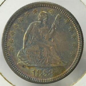Click now to see the BUY IT NOW Price! 1858 SEATED LIBERTY QUARTER DOLLAR NO MOTTO TYPE SHIPS FREE LSQA9