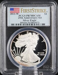 Click now to see the BUY IT NOW Price! 2011 W SILVER EAGLE PROOF 25TH ANNIVERSARY SET PCGS PR 70 FIRST STRIKE