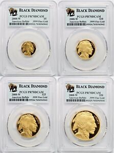Click now to see the BUY IT NOW Price! 2008 W AMERICAN GOLD BUFFALO BLACK DIAMOND 4 COIN PROOF SET PCGS PR70DCAM