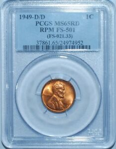 Click now to see the BUY IT NOW Price! 1949 D/D PCGS MS65RD FS 501 RED RPM REPUNCHED MINT MARK LINCOLN CENT