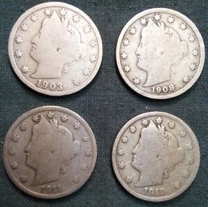 LIBERTY NICKELS 1903 1908 1911 1912 5C LOT OF FOUR COINS