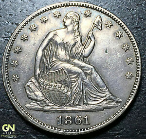1861 P SEATED LIBERTY HALF DOLLAR      MAKE US AN OFFER   W5205 ZXCV