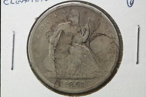 1861 O SEATED HALF G OLD LIGHT CLEANING