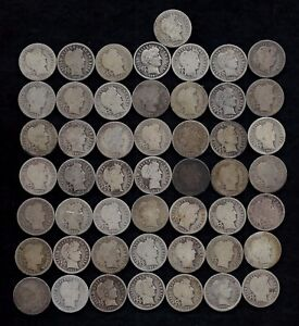 ROLL OF BARBER DIMES  50  90  SILVER  1899 1916    LOT D6