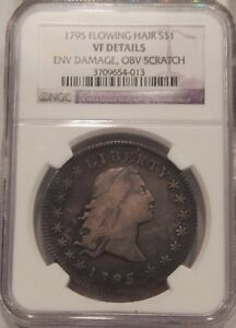 1795 FLOWING HAIR BUST DOLLAR $1 VF DETAILS NGC 3 LEAVES