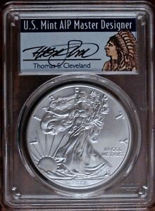 2017 W $1 SILVER EAGLE PCGS SP70 FIRST STRIKE  FLAG LABEL  SPOTLESS