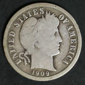 1909 CIRCULATED BARBER DIME COIN