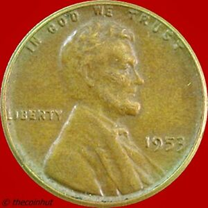 1953 P COPPER LINCOLN WHEAT PENNY CENT COIN US MINT COINS COINHUT5045