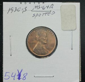 1930 S WHEAT CENT MS RED