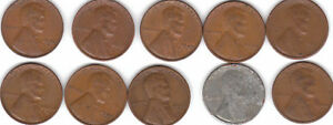 1940S  THRU  1949S   ALL  10  S  MINT  LINCOLN CENT SET   FREE 1930'S XF WHEATIE