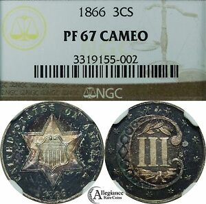 Click now to see the BUY IT NOW Price! 1866 THREE CENT SILVER NGC PF67 CAMEO TONED ORIGINAL  CAM PROOF COIN 3 C.