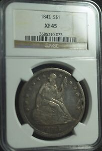 1842 SEATED LIBERTY DOLLAR NGC XF 45 SHARP STRIKE