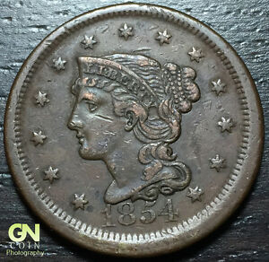 1854 BRAIDED HAIR LARGE CENT     MAKE US AN OFFER   Y6875