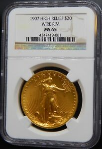 Click now to see the BUY IT NOW Price! 1907 $20 HIGH RELIEF WIRE RIM MS 65 NGC