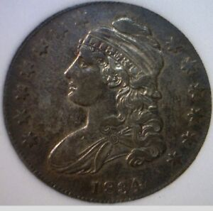 1834 CH AU TONED CAPPED BUST HALF DOLLAR SHARP STRUCK SILVER COIN LOT SBD