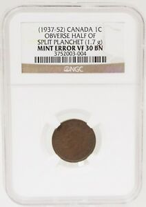 Click now to see the BUY IT NOW Price! OBVERSE HALF OF SPLIT PLANCHET CANADA 1C 1937 52 ERROR VF 30 BN NGC GRADED  NR