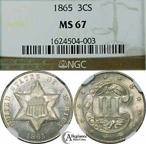 Click now to see the BUY IT NOW Price! 1865 THREE CENT SILVER NGC MS67 WHITE LUSTER ORIGINAL  OLD TYPE COIN 3 C.