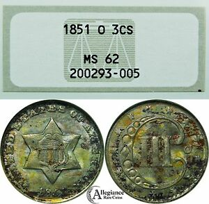 Click now to see the BUY IT NOW Price! 1851 O THREE CENT SILVER NGC MS62  BREEN 2907 DASH DATE   OLD TYPE COIN