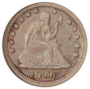1890 25C ANACS VF 35   LOW MINTAGE SEATED LIBERTY QUARTER