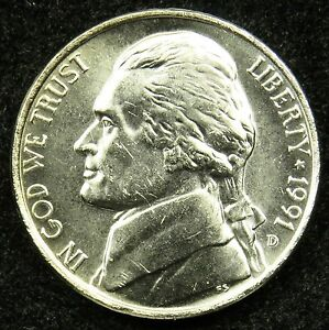 1991 D UNCIRCULATED JEFFERSON NICKEL BU  B05