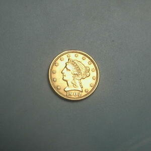 1902 GOLD $2.5 LIBERTY QUARTER EAGLE COIN $2 1/2