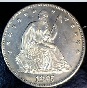 1875 CH BU SEATED LIBERTY HALF DOLLAR SILVER COIN WITH MOTTO NICE LOT