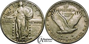 1929 25C STANDING LIBERTY SILVER QUARTER AU WITH LUSTER  OLD TYPE COIN MONEY