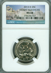 2013 D MOUNT RUSHMORE QUARTER NGC MS 68 FINEST GRADED .