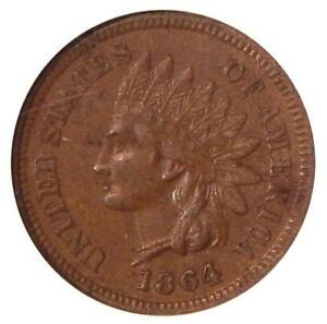 1864 L 1C NGC AU 58 BN S 4 FS 2303   NEAR REPUNCHED DATE INDIAN CENT VARIETY