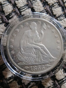 1855 O 50C ARROWS LIBERTY SEATED HALF DOLLAR  NICE XF/AU COIN