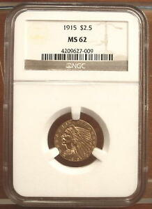 1915 GOLD $2.5 INDIAN HEAD QUARTER EAGLE COIN $2 1/2   NGC MS62