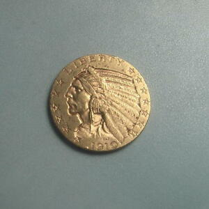 DATE 1910 S GOLD $5 INDIAN HEAD HALF EAGLE COIN   BU