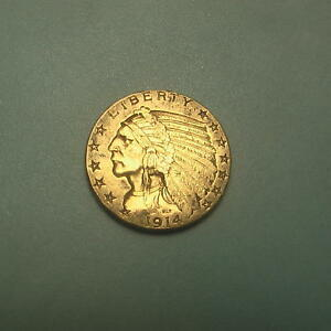 1914 GOLD $5 INDIAN HEAD HALF EAGLE COIN   BU