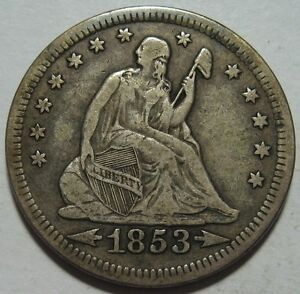 1853 VF   SEATED QUARTER ARROWS & RAYS